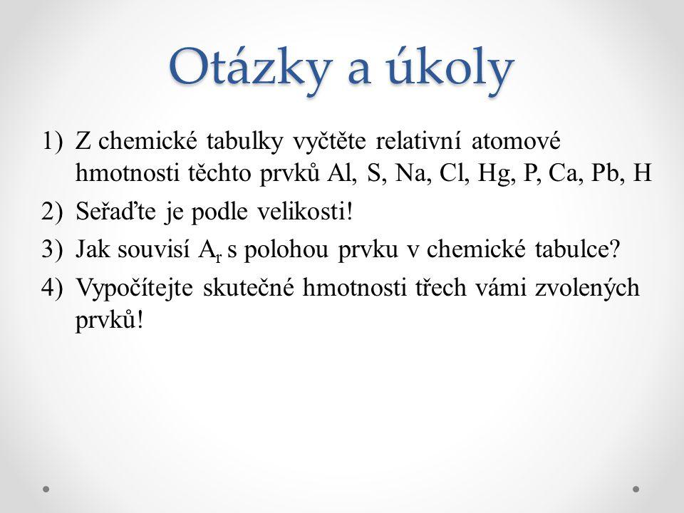 Otázky a úkoly Z chemické tabulky vyčtěte relativní atomové hmotnosti těchto prvků Al, S, Na, Cl, Hg, P, Ca, Pb, H.
