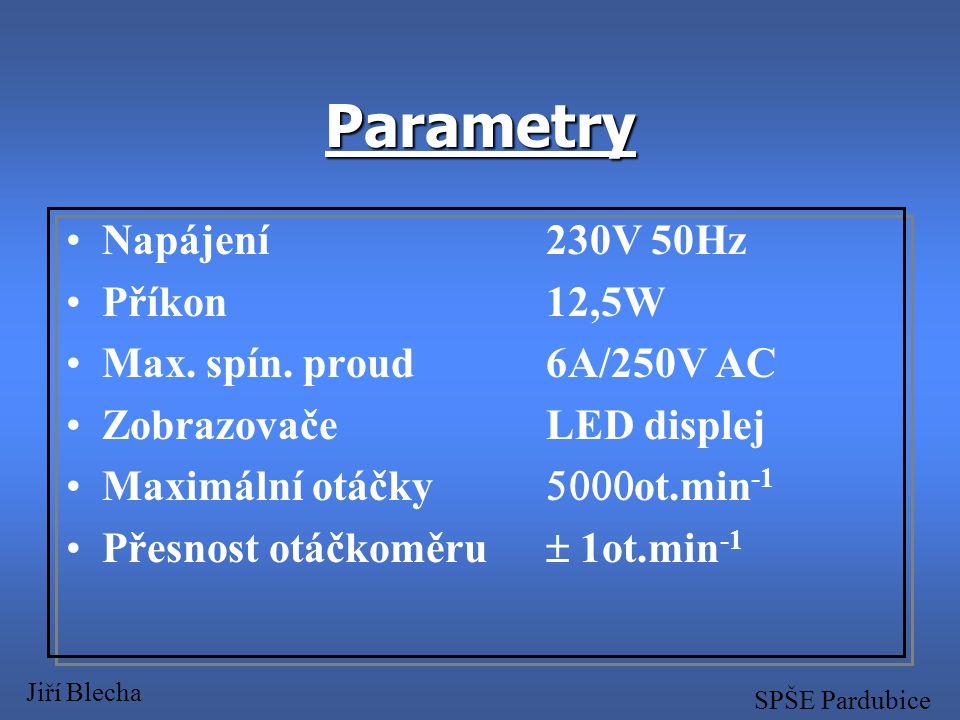 Parametry Napájení 230V 50Hz Příkon 12,5W Max. spín. proud 6A/250V AC