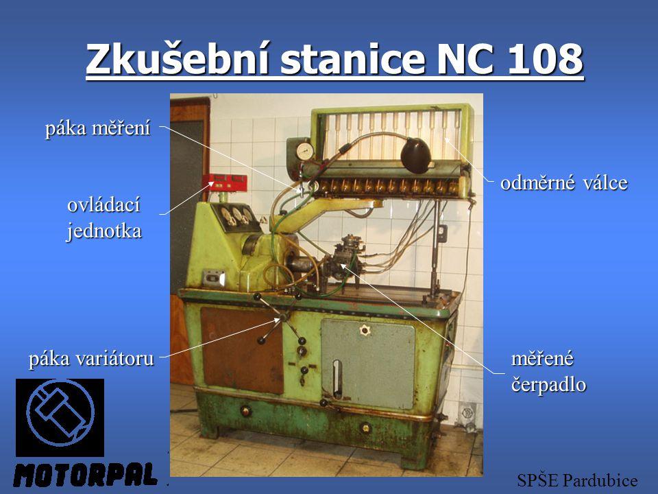 Zkušební stanice NC 108 páka měření odměrné válce ovládací jednotka