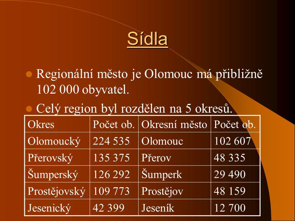 Sídla Regionální město je Olomouc má přibližně 102 000 obyvatel.