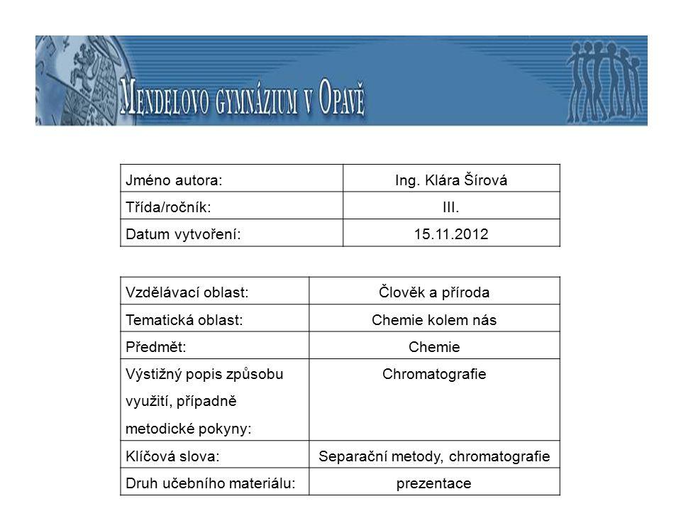 Separační metody, chromatografie