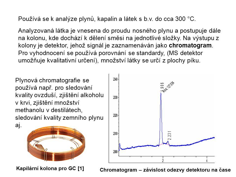 Používá se k analýze plynů, kapalin a látek s b.v. do cca 300 °C.