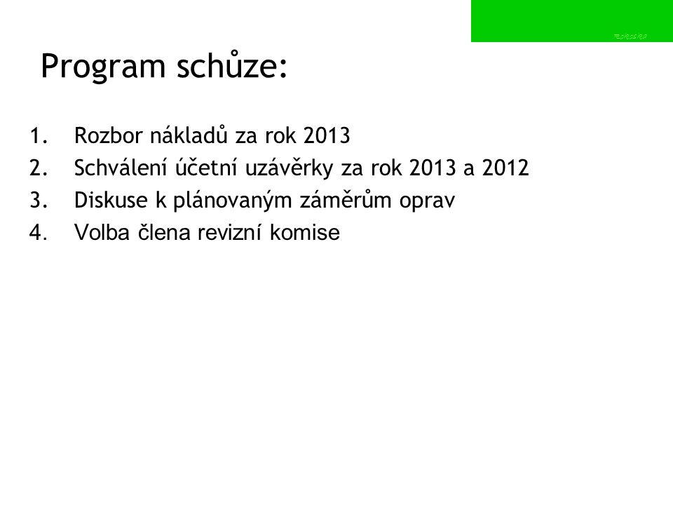 Program schůze: Rozbor nákladů za rok 2013