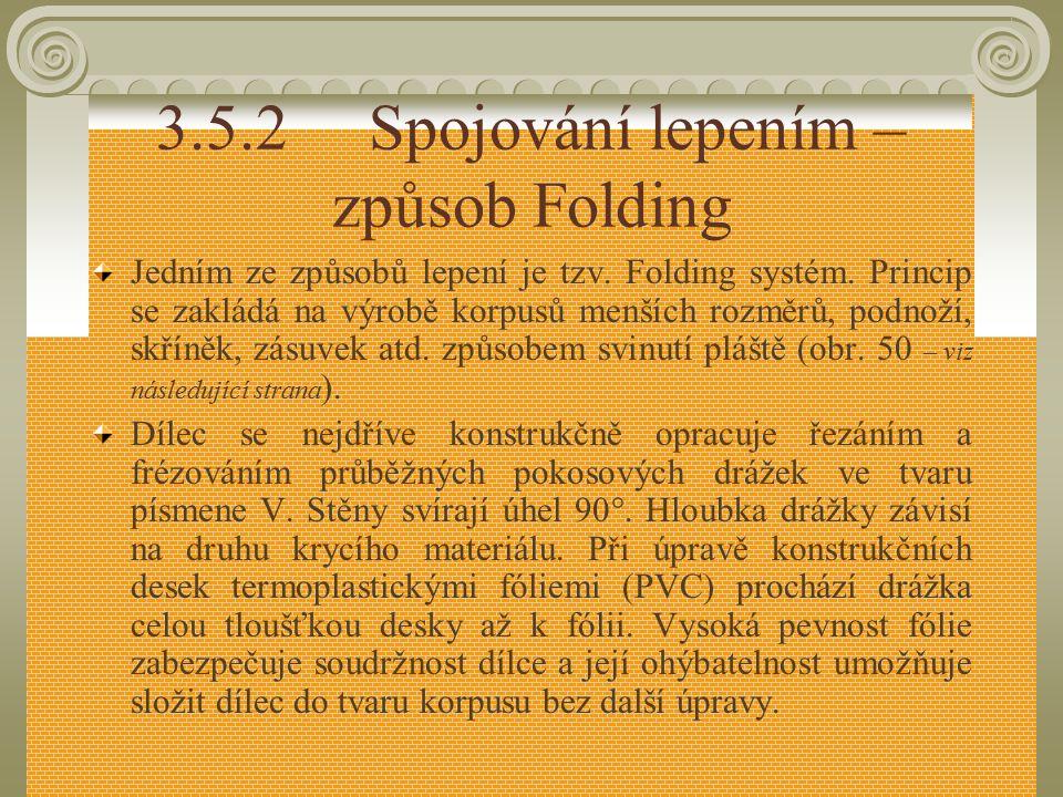 3.5.2 Spojování lepením – způsob Folding