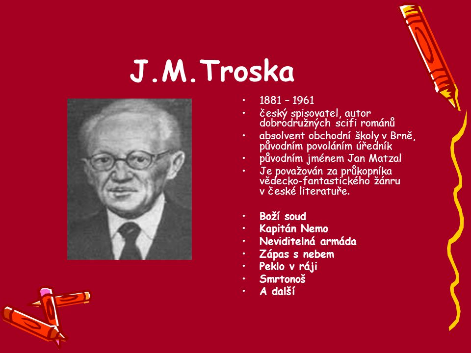 J.M.Troska 1881 – 1961. český spisovatel, autor dobrodružných scifi románů. absolvent obchodní školy v Brně, původním povoláním úředník.