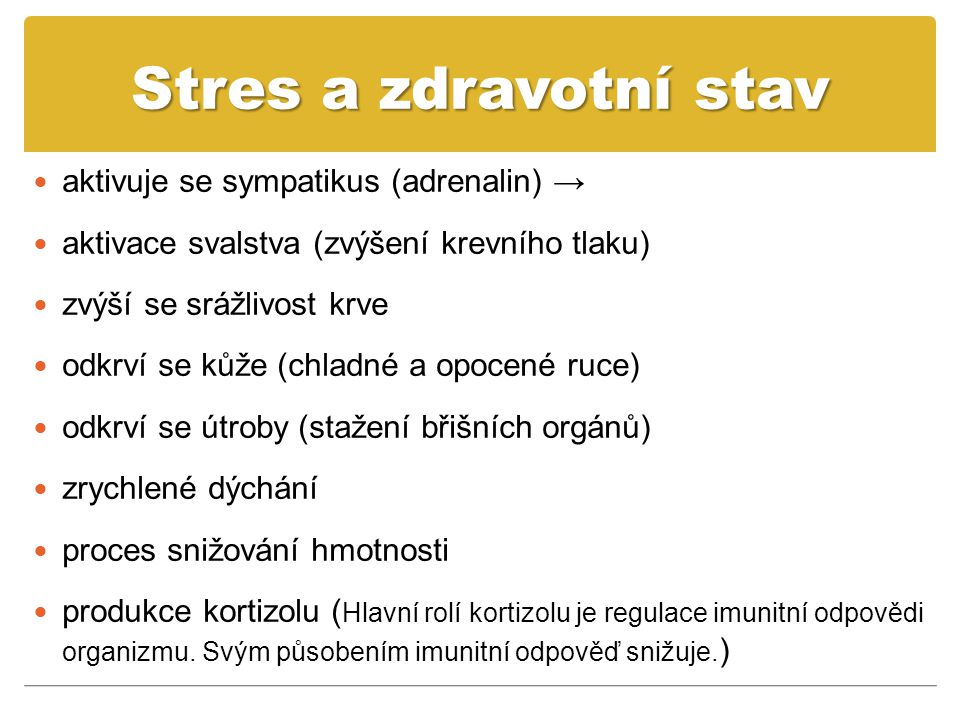 Stres a zdravotní stav aktivuje se sympatikus (adrenalin) →