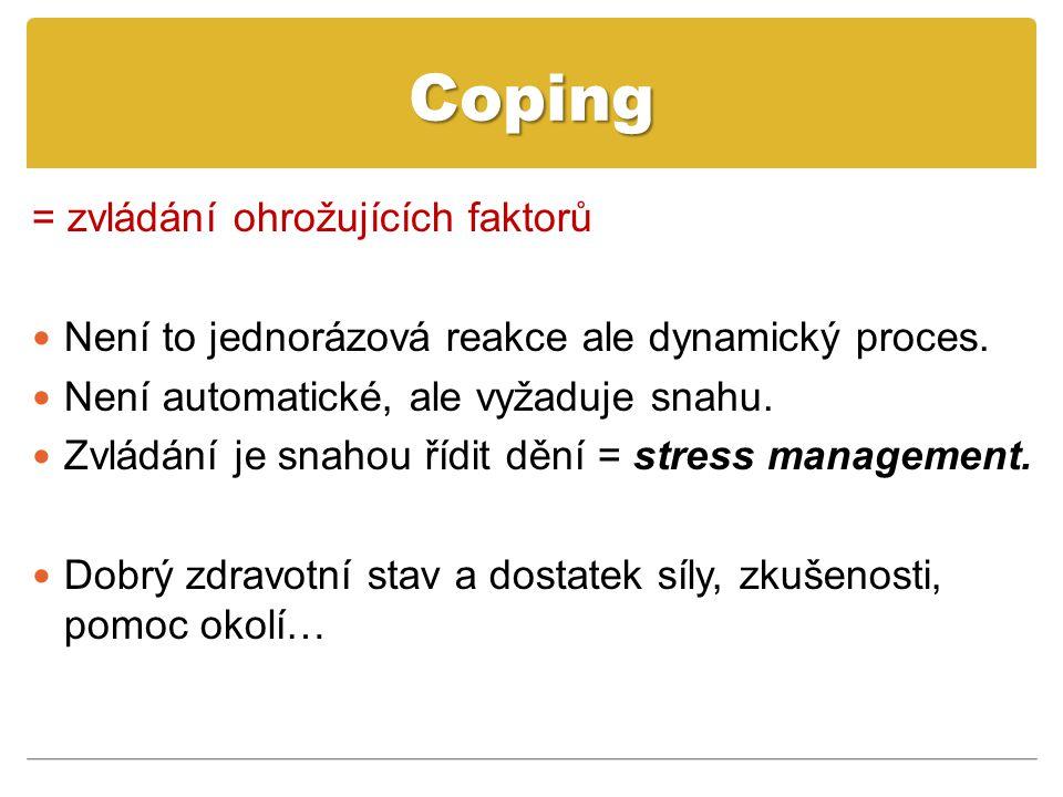 Coping = zvládání ohrožujících faktorů