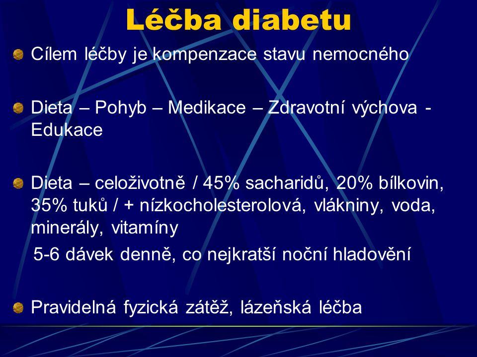 Léčba diabetu Cílem léčby je kompenzace stavu nemocného