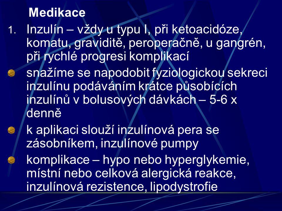 Medikace Inzulín – vždy u typu I, při ketoacidóze, komatu, graviditě, peroperačně, u gangrén, při rychlé progresi komplikací.