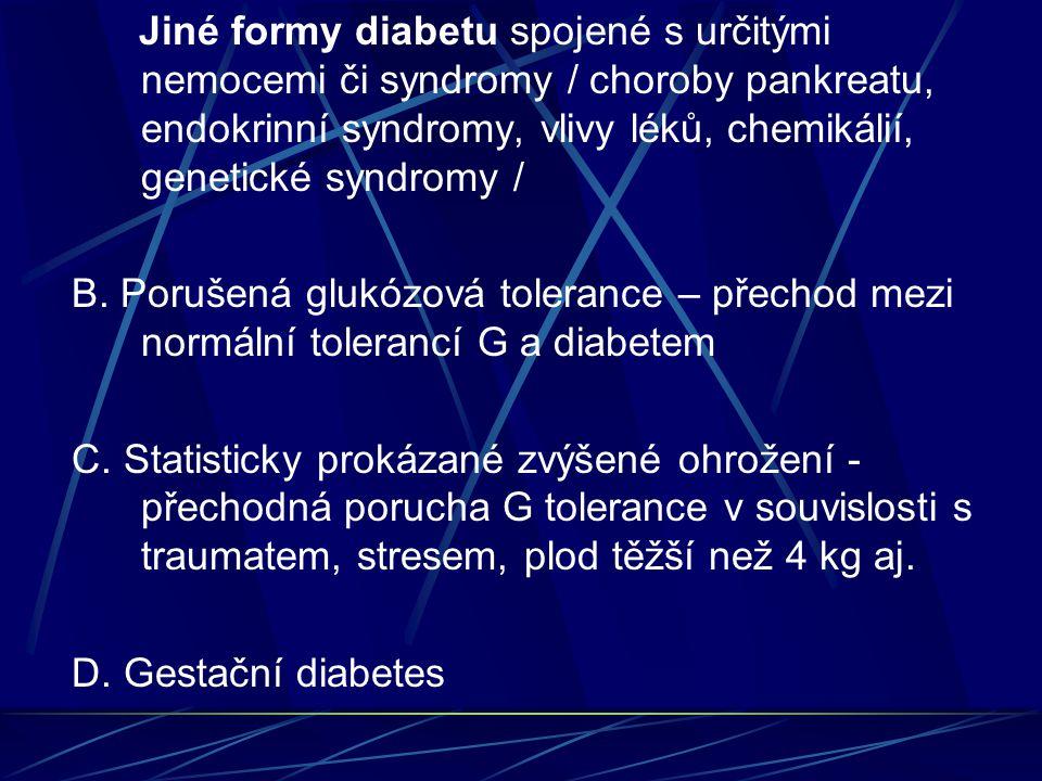 Jiné formy diabetu spojené s určitými nemocemi či syndromy / choroby pankreatu, endokrinní syndromy, vlivy léků, chemikálií, genetické syndromy /