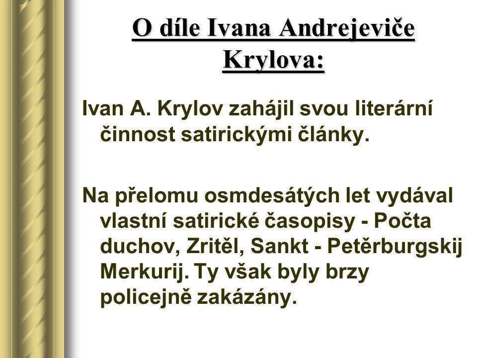 O díle Ivana Andrejeviče Krylova:
