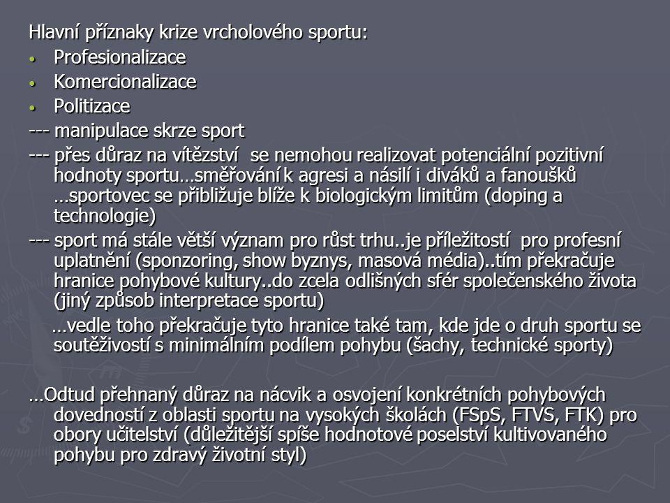 Hlavní příznaky krize vrcholového sportu: