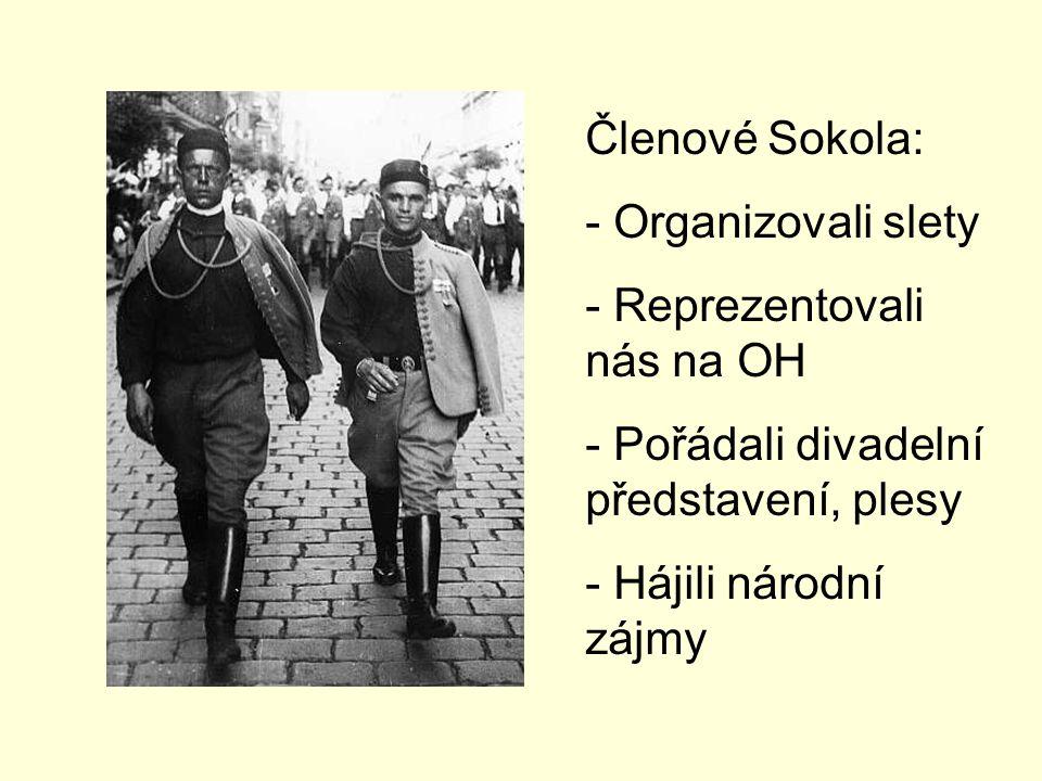 Členové Sokola: Organizovali slety. Reprezentovali nás na OH. Pořádali divadelní představení, plesy.