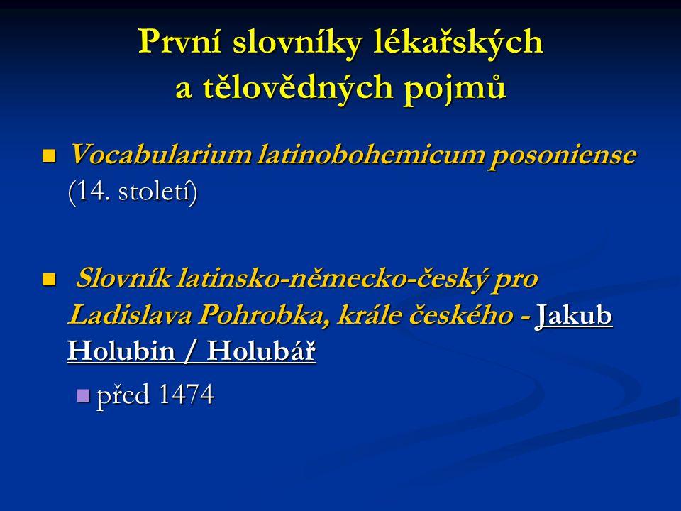 První slovníky lékařských a tělovědných pojmů