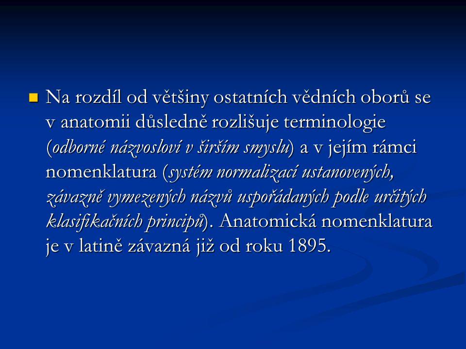Na rozdíl od většiny ostatních vědních oborů se v anatomii důsledně rozlišuje terminologie (odborné názvosloví v širším smyslu) a v jejím rámci nomenklatura (systém normalizací ustanovených, závazně vymezených názvů uspořádaných podle určitých klasifikačních principů).