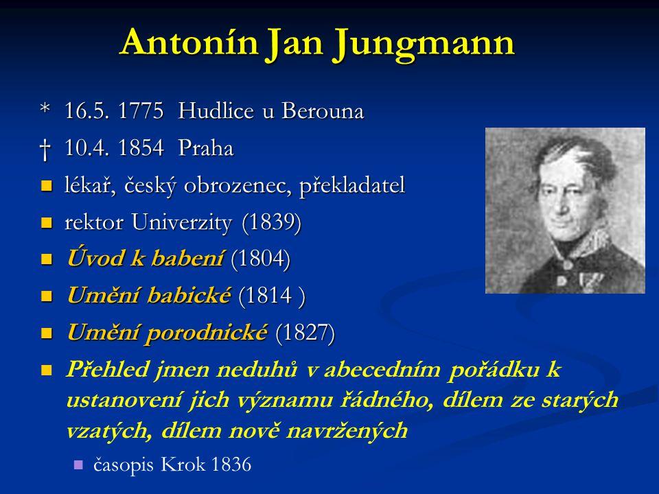 Antonín Jan Jungmann * 16.5. 1775 Hudlice u Berouna † 10.4. 1854 Praha