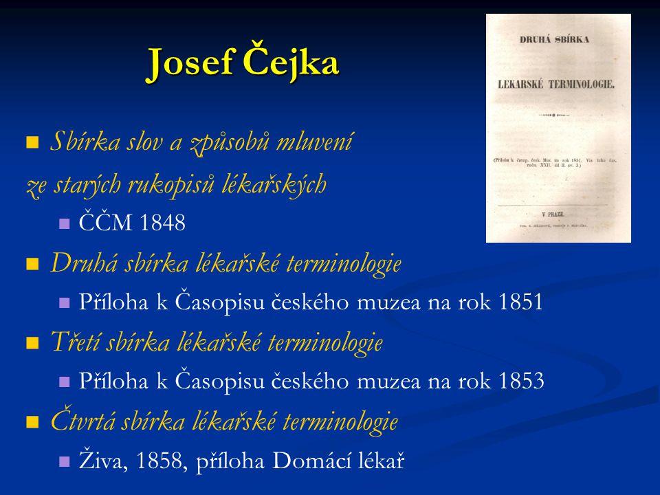 Josef Čejka Sbírka slov a způsobů mluvení