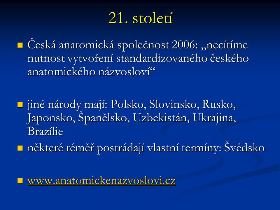 """21. století Česká anatomická společnost 2006: """"necítíme nutnost vytvoření standardizovaného českého anatomického názvosloví"""