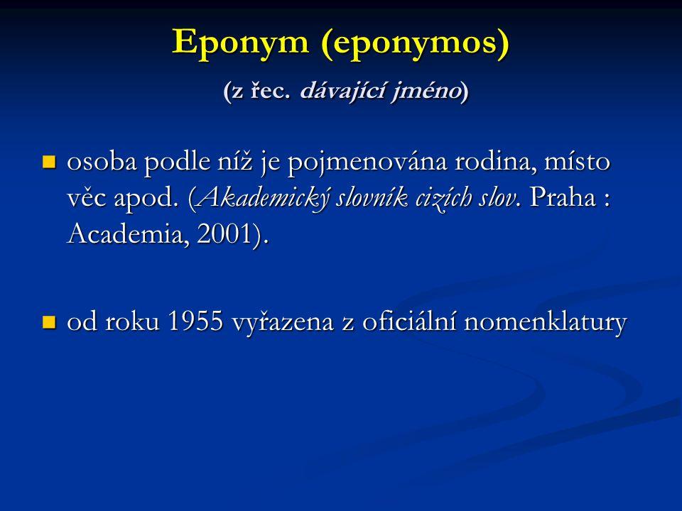 Eponym (eponymos) (z řec. dávající jméno)