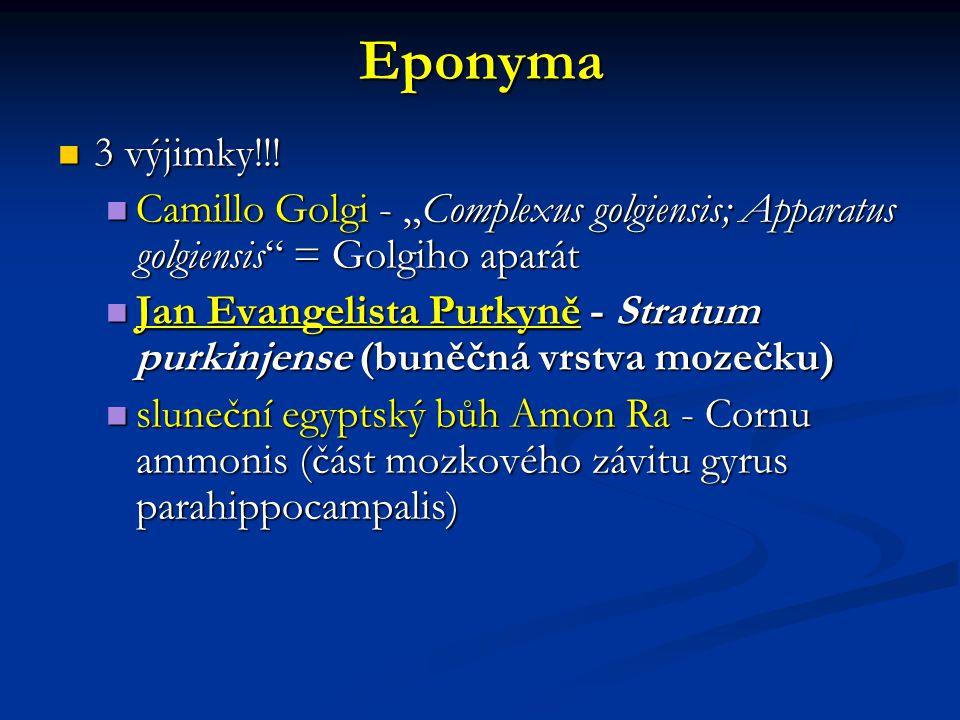 "Eponyma 3 výjimky!!! Camillo Golgi - ""Complexus golgiensis; Apparatus golgiensis = Golgiho aparát."