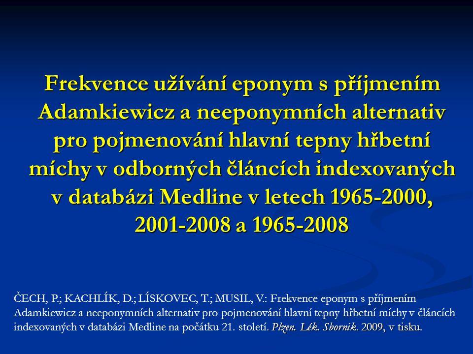 Frekvence užívání eponym s příjmením Adamkiewicz a neeponymních alternativ pro pojmenování hlavní tepny hřbetní míchy v odborných článcích indexovaných v databázi Medline v letech 1965-2000, 2001-2008 a 1965-2008