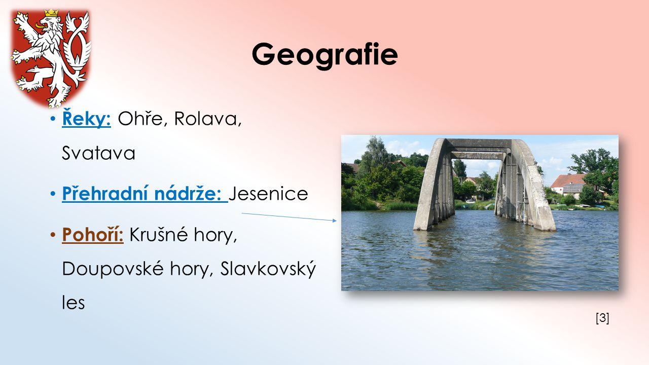 Geografie Řeky: Ohře, Rolava, Svatava Přehradní nádrže: Jesenice