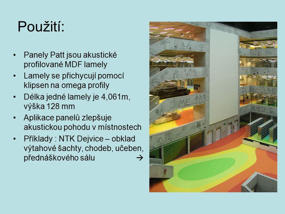 Použití: Panely Patt jsou akustické profilované MDF lamely
