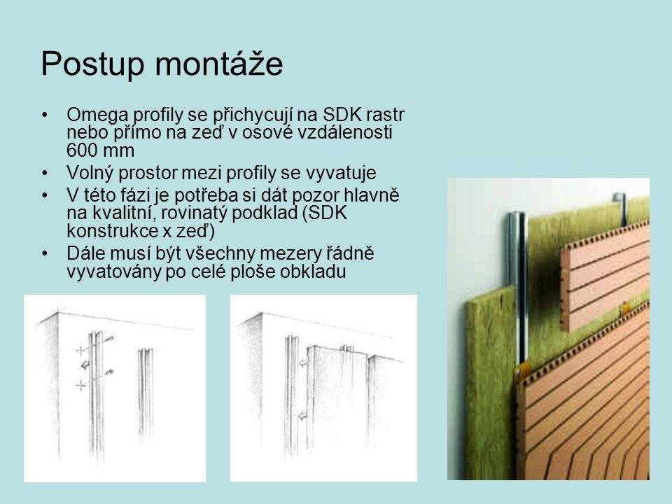 Postup montáže Omega profily se přichycují na SDK rastr nebo přímo na zeď v osové vzdálenosti 600 mm.