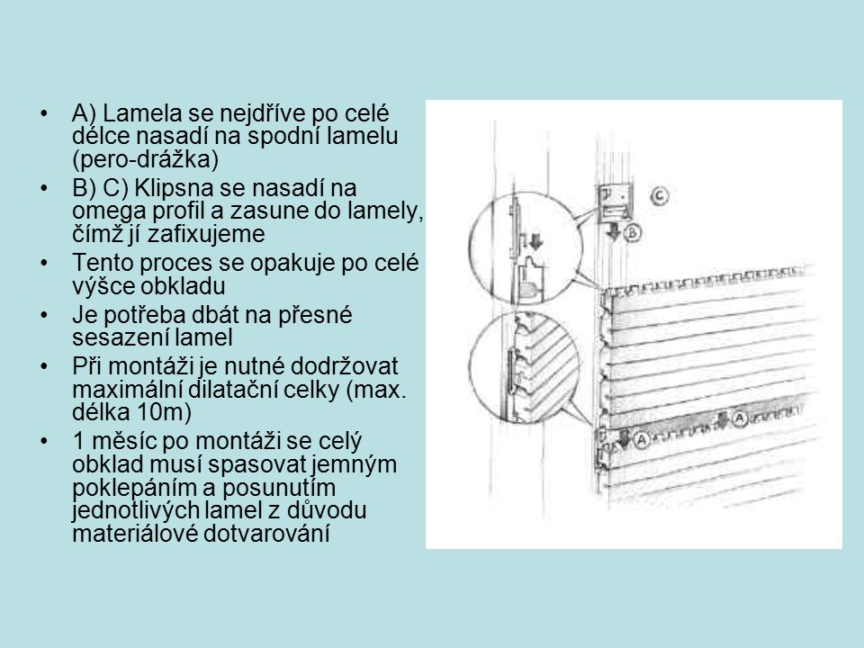 A) Lamela se nejdříve po celé délce nasadí na spodní lamelu (pero-drážka)