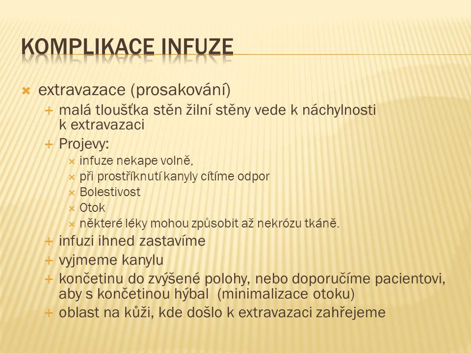 Komplikace infuze extravazace (prosakování)