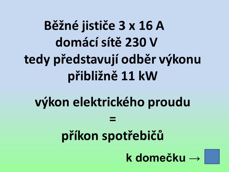 Běžné jističe 3 x 16 A domácí sítě 230 V