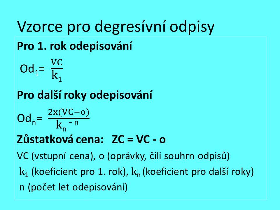 Vzorce pro degresívní odpisy