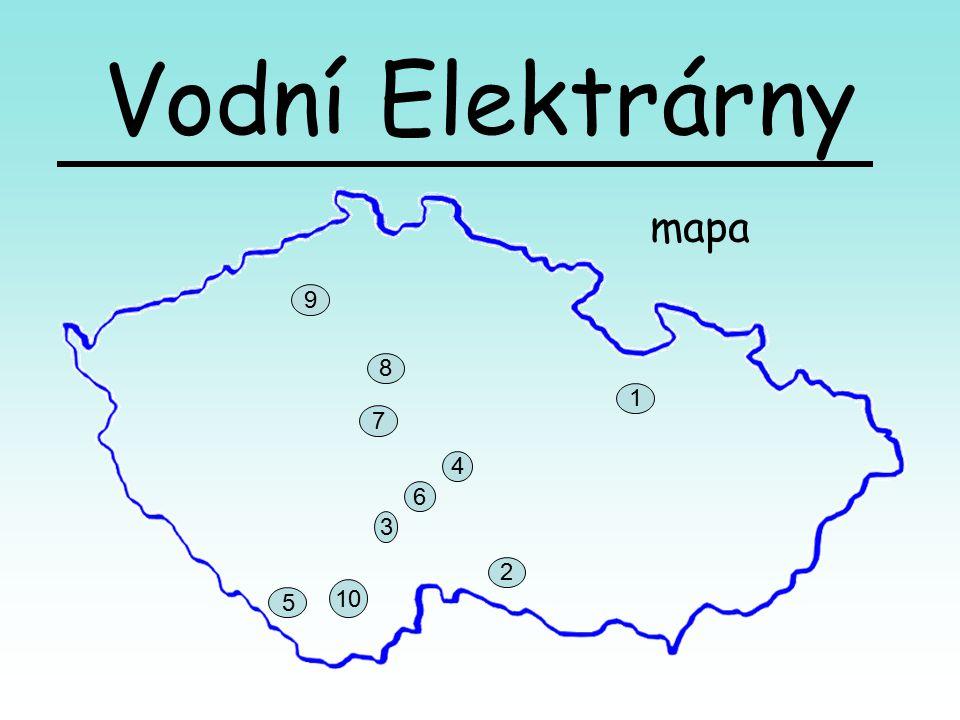 Vodní Elektrárny mapa 9 8 1 7 4 6 3 2 10 5