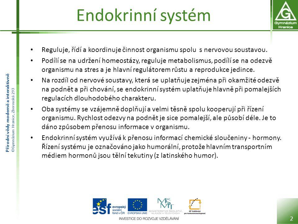 Endokrinní systém Reguluje, řídí a koordinuje činnost organismu spolu s nervovou soustavou.