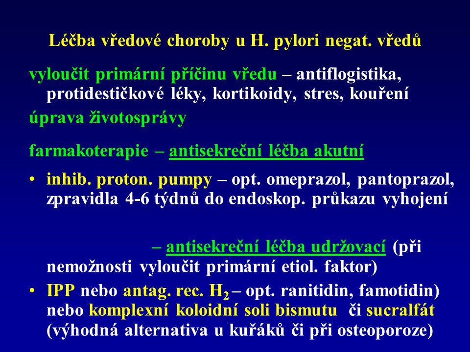 Léčba vředové choroby u H. pylori negat. vředů