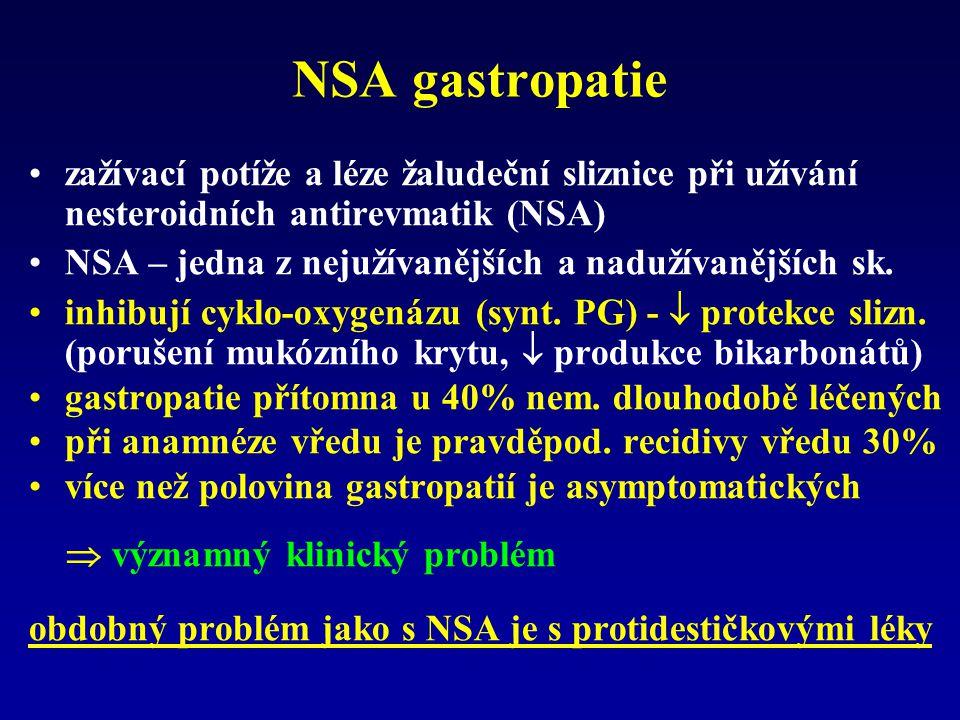NSA gastropatie zažívací potíže a léze žaludeční sliznice při užívání nesteroidních antirevmatik (NSA)