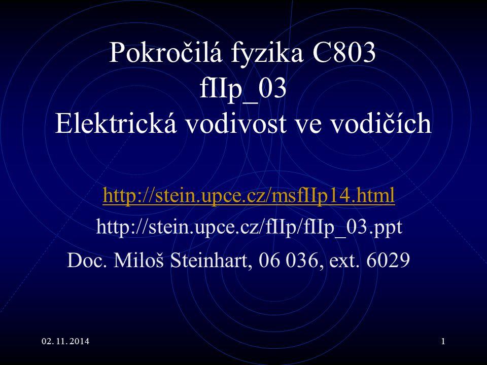 Pokročilá fyzika C803 fIIp_03 Elektrická vodivost ve vodičích