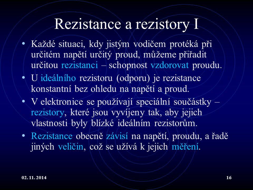 Rezistance a rezistory I