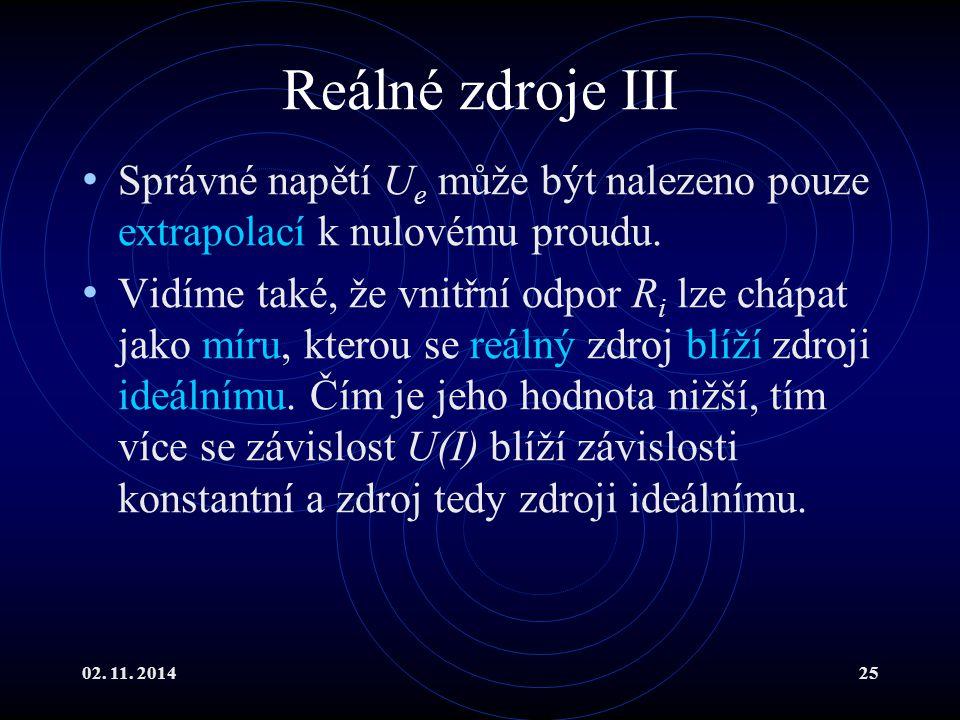 Reálné zdroje III Správné napětí Ue může být nalezeno pouze extrapolací k nulovému proudu.