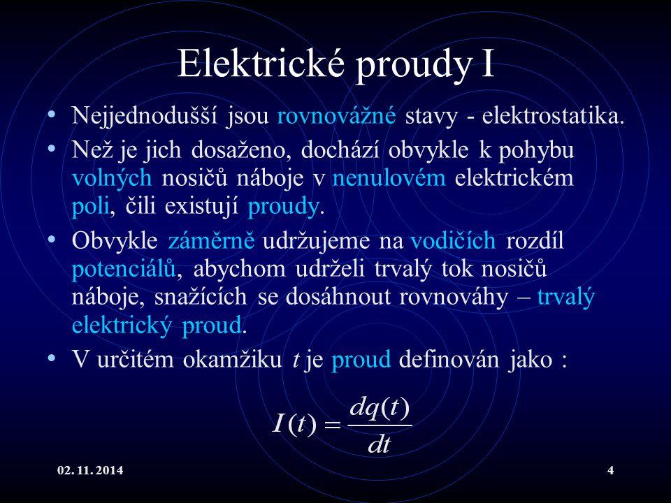 Elektrické proudy I Nejjednodušší jsou rovnovážné stavy - elektrostatika.
