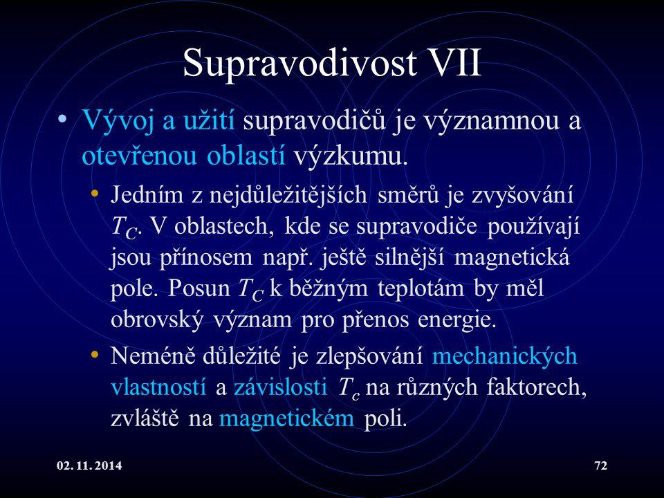 Supravodivost VII Vývoj a užití supravodičů je významnou a otevřenou oblastí výzkumu.