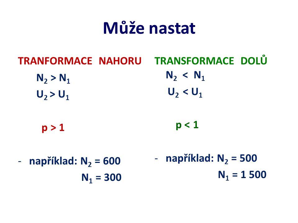 Může nastat TRANFORMACE NAHORU N2 > N1 U2 > U1 p > 1