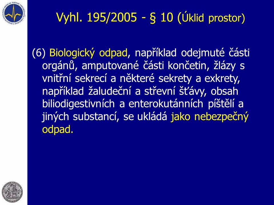Vyhl. 195/2005 - § 10 (Úklid prostor)