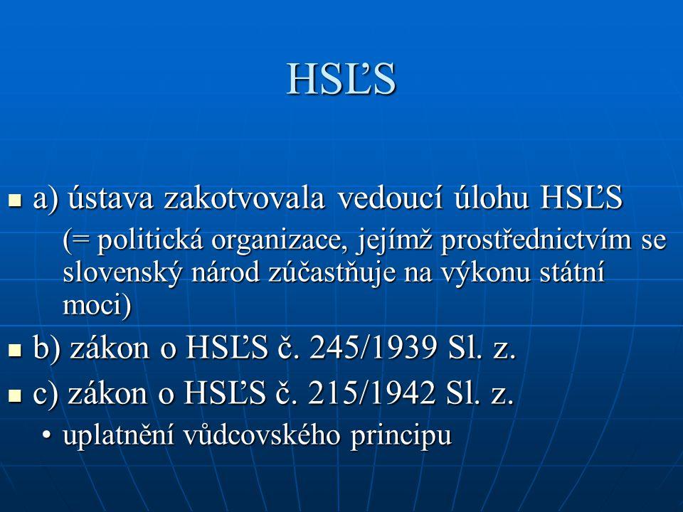 HSĽS a) ústava zakotvovala vedoucí úlohu HSĽS
