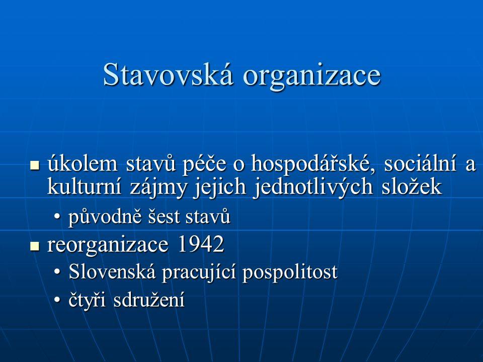 Stavovská organizace úkolem stavů péče o hospodářské, sociální a kulturní zájmy jejich jednotlivých složek.
