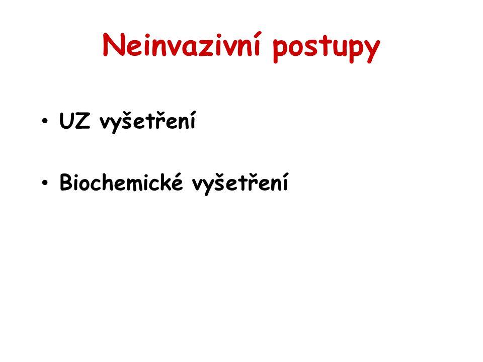 Neinvazivní postupy UZ vyšetření Biochemické vyšetření 28