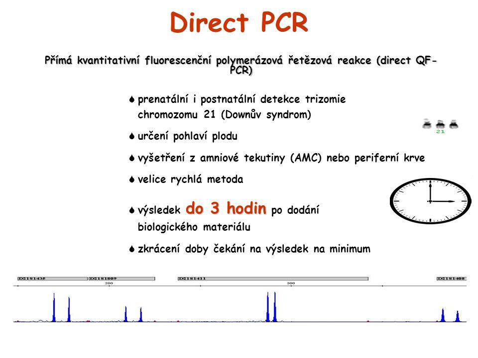 Direct PCR Přímá kvantitativní fluorescenční polymerázová řetězová reakce (direct QF-PCR)