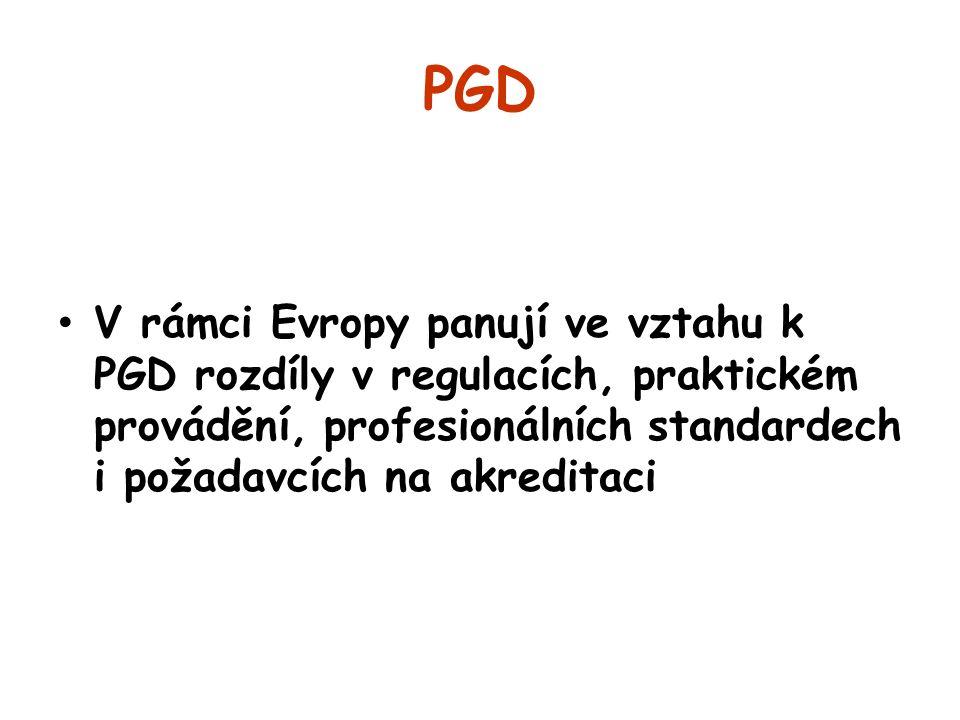 PGD V rámci Evropy panují ve vztahu k PGD rozdíly v regulacích, praktickém provádění, profesionálních standardech i požadavcích na akreditaci.