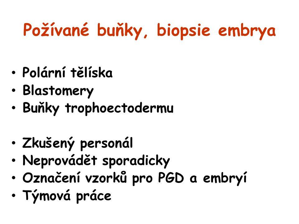Požívané buňky, biopsie embrya