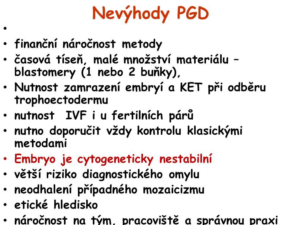 Nevýhody PGD finanční náročnost metody